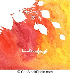 Watercolor painted orange background with white leaves silhouettes