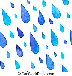 Watercolor painted rain drops seamless pattern - Watercolor...