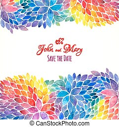 Watercolor painted rainbow colors invitation template
