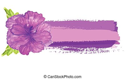 Watercolor painted  vector  hibiscus. Tropical Flower. Vector banner with  flower.