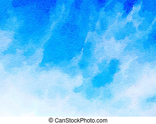 Watercolor painting background with blue and white colors in an abstract pattern