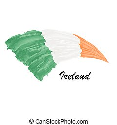 Watercolor painting flag of Ireland. Brush stroke illustration