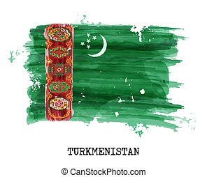Watercolor painting flag of Turkmenistan . Vector .