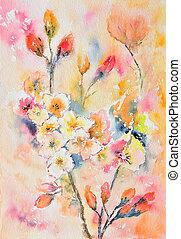 watercolor painting, flowers