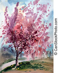 Watercolor painting landscape with blooming spring tree with...