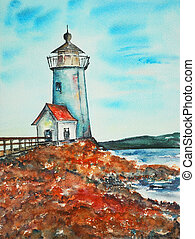 watercolor painting, lighthouse