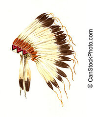 Watercolor Painting of a Native American Lakota Headdress