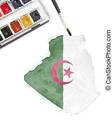 Watercolor painting of Algeria in the national colors.(series)