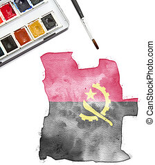 Watercolor painting of Angola in the national colors.(series)