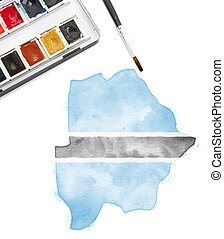 Watercolor painting of Botswana in the national colors.(series)