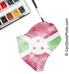 Watercolor painting of Burundi in the national colors.(series)