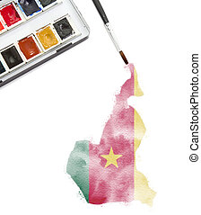Watercolor painting of Cameroon in the national colors.(series)