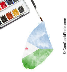 Watercolor painting of Djibouti in the national colors.(series)