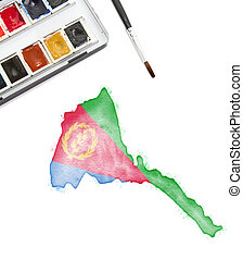 Watercolor painting of Eritrea in the national colors.(series)