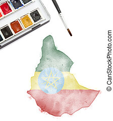 Watercolor painting of Ethiopia in the national colors.(series)