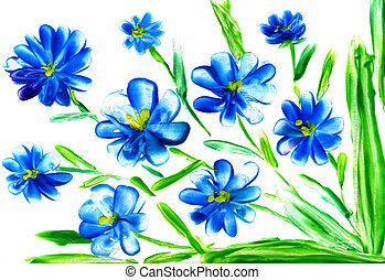 watercolor painting of flowers - blue flowerses on white ...