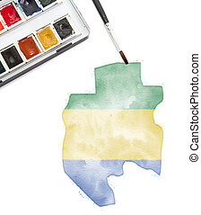 Watercolor painting of Gabon in the national colors.(series)