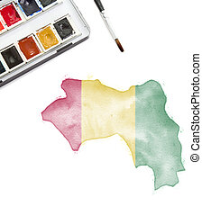 Watercolor painting of Guinea in the national colors.(series)