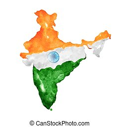 Watercolor painting of Indian map