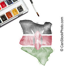 Watercolor painting of Kenya in the national colors.(series)