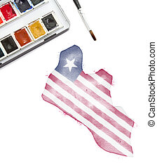 Watercolor painting of Liberia in the national colors.(series)