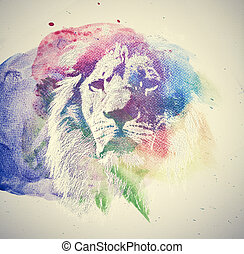 Watercolor painting of lion. Abstract, colorful art. Unique