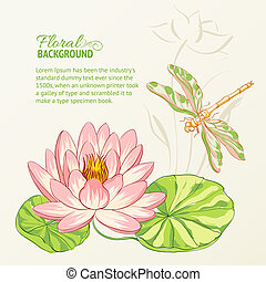 Watercolor painting of lotus and dragonfly.