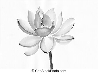Original art, watercolor painting of lotus, Asian style painting