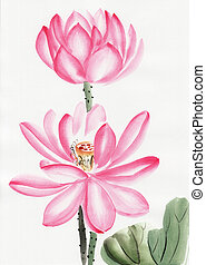 Watercolor painting of lotus flower - Original art,...