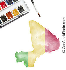 Watercolor painting of Mali in the national colors.(series)
