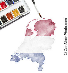 Watercolor painting of Netherlands in the national colors.(series)