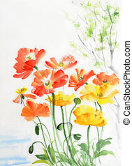 Watercolor painting of red and yellow poppies, original style painting.