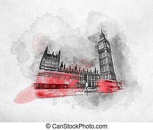 Watercolor painting of red bus in London, the UK.