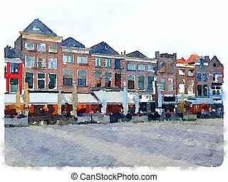 Watercolor painting of row of houses in Delft in the Netherlands