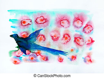 Watercolor painting of the abstract red flowers and blue bird