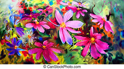 Watercolor painting of the beautiful flowers.