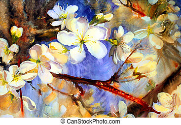 Watercolor painting of the blooming spring tree branches with white flowers.