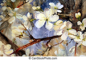 Watercolor painting of the blooming spring tree branches ...