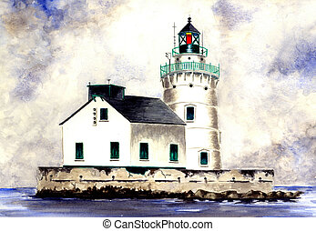 Watercolor painting of the West Pierhead Lighthouse located on Lake Erie in Cleveland, Ohio