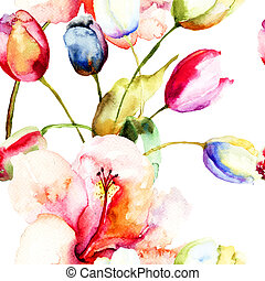 Watercolor painting of Tulips and Lily flowers, seamless pattern