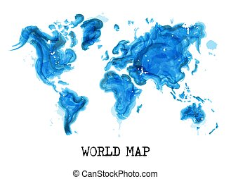 Watercolor painting style of world map ( Ecological concept ) . Vector .