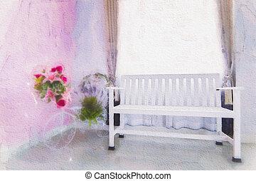 Modern designer chair on white background.