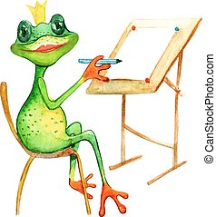 watercolor painting with a frog who is drowing