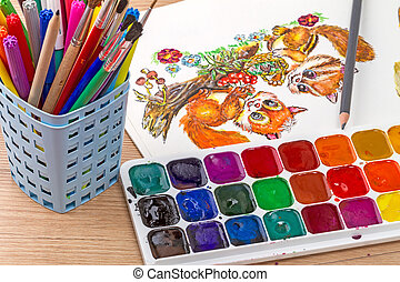 Watercolor painting with two squirrels