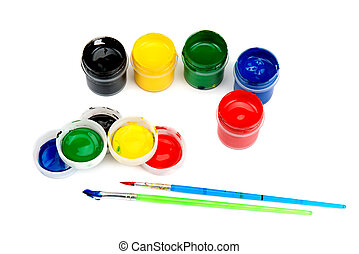watercolor paints and brushes isolated on white background