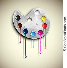 Watercolor paints - Watercolor palette with paint flowing....