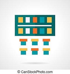 Watercolor paints flat color design vector icon
