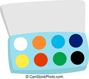 Watercolor paints, illustration, vector on white background.