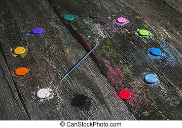 Watercolor paints in clock shape