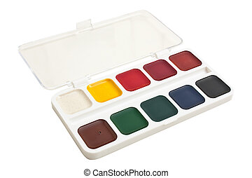 watercolor paints isolated on a white background